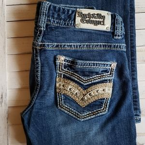 Rock & Roll Cowgirl Low Rise Rhinestones & Leather